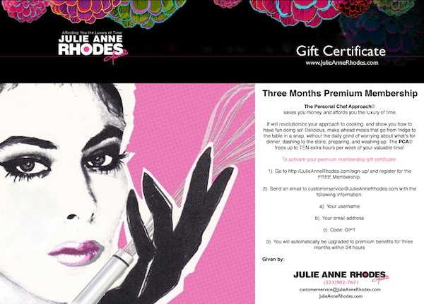 gift certificate to JulieAnneRhodes.com for 3 months