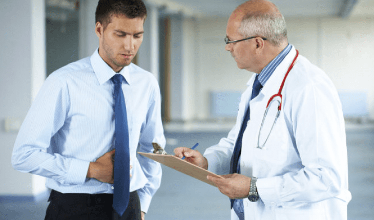 Patient with gastrointestinal diseases visits doctor to receive diagnosis.