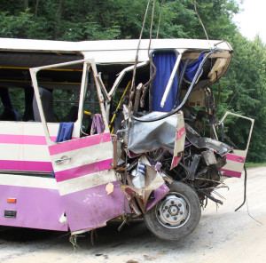 Scene of bus crash where tourists were died