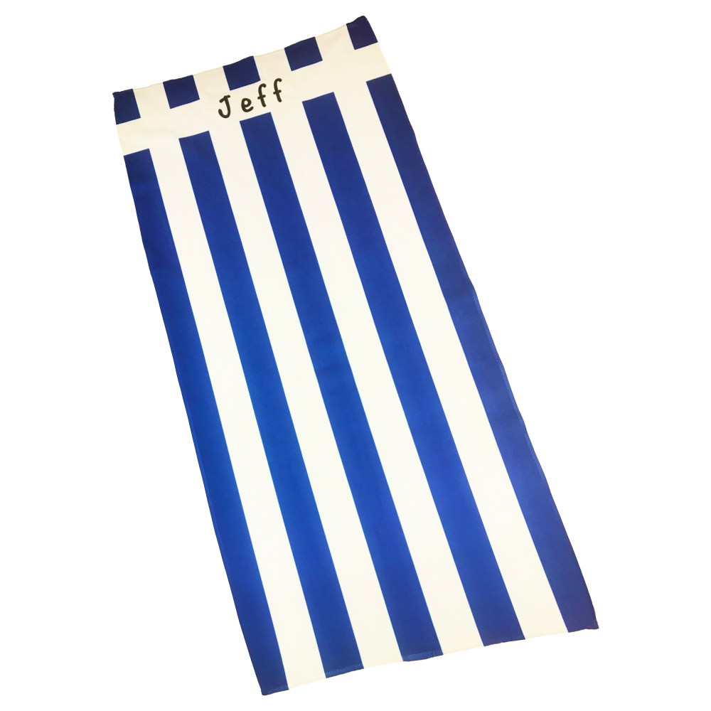 personalised name beach towel in royal blue