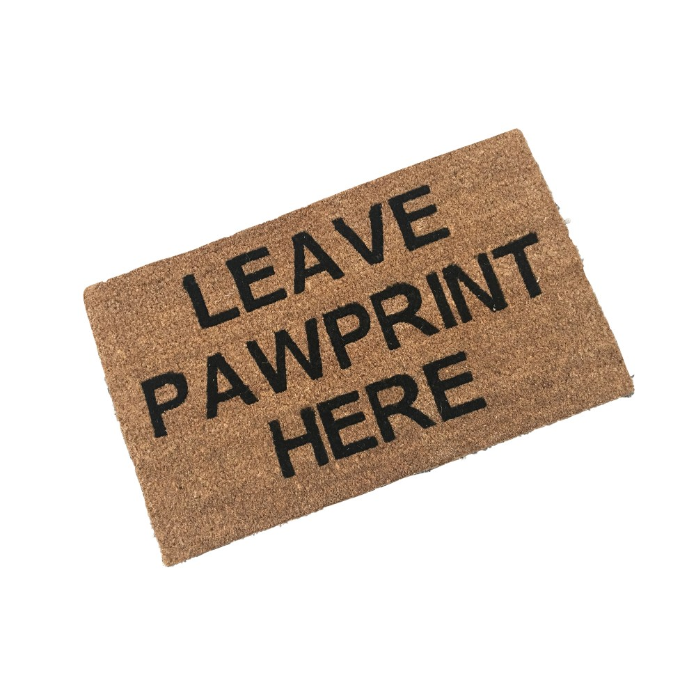 printed coir doormat with leave pawprint here