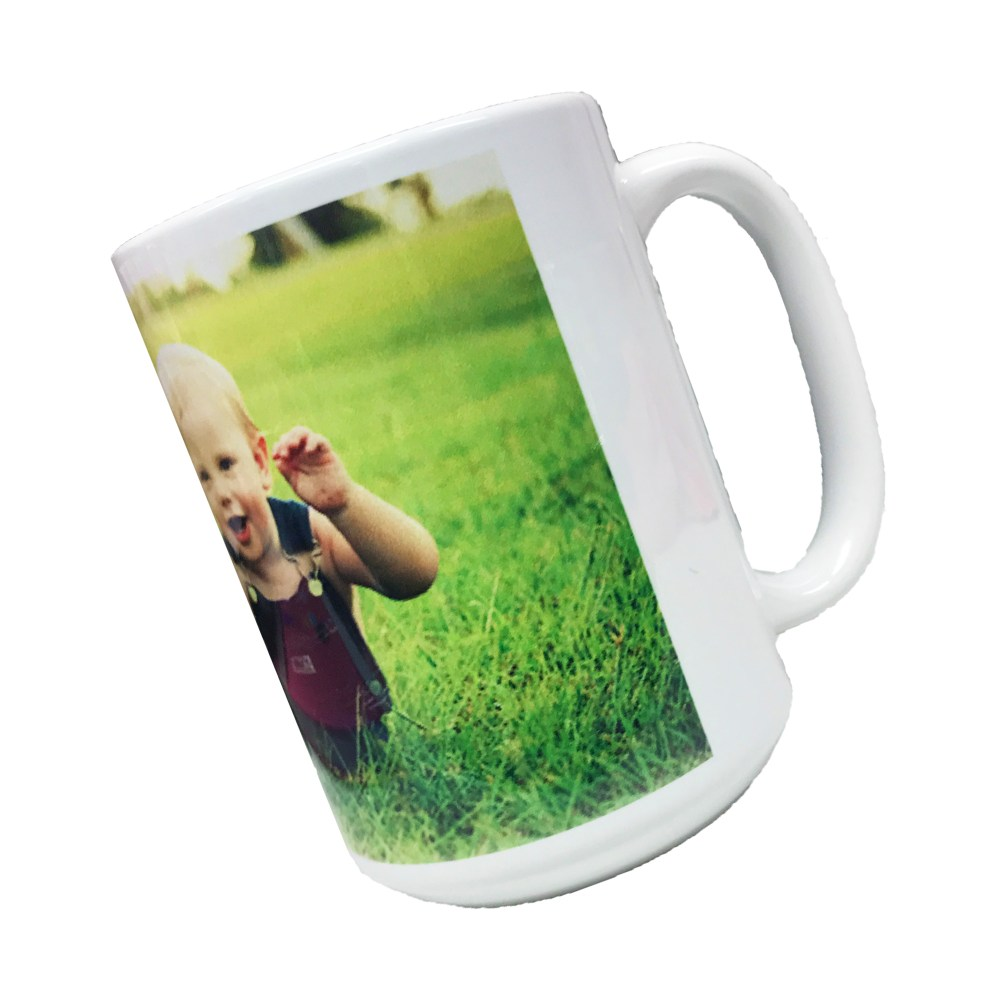 large personalised mug printed with photo of a baby