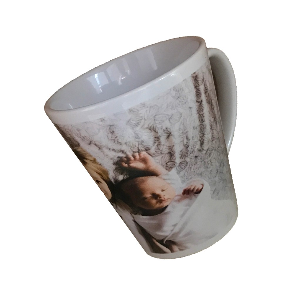personalised latte mug with photo of two siblings printed