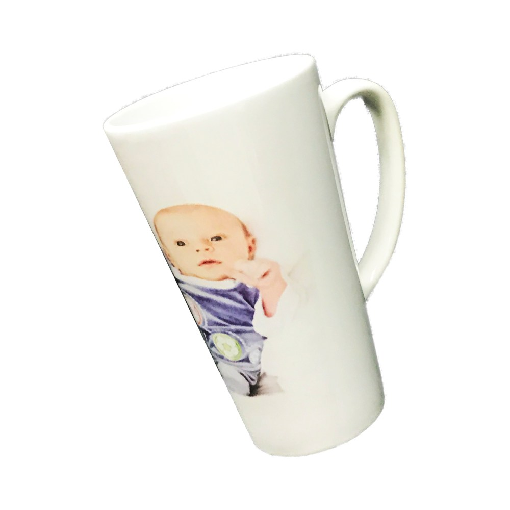 personalised tall latte mug printed with a photo of a newborn baby