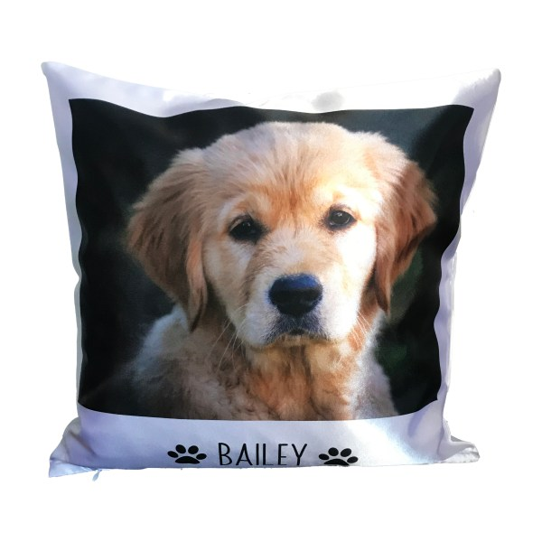 personalised pet photo cushion with photo of a dog and it's name
