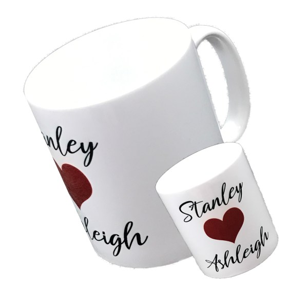 personalised standard white mug printed with two names and a red love heart