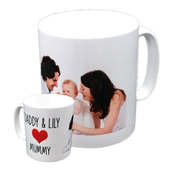 personalised standard white mug printed with family photo and names with red love heart