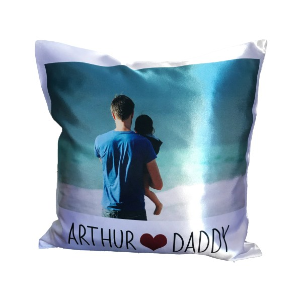 personalised photo cushion with name heart name caption