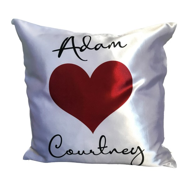 personalised love cushion add names between a red heart