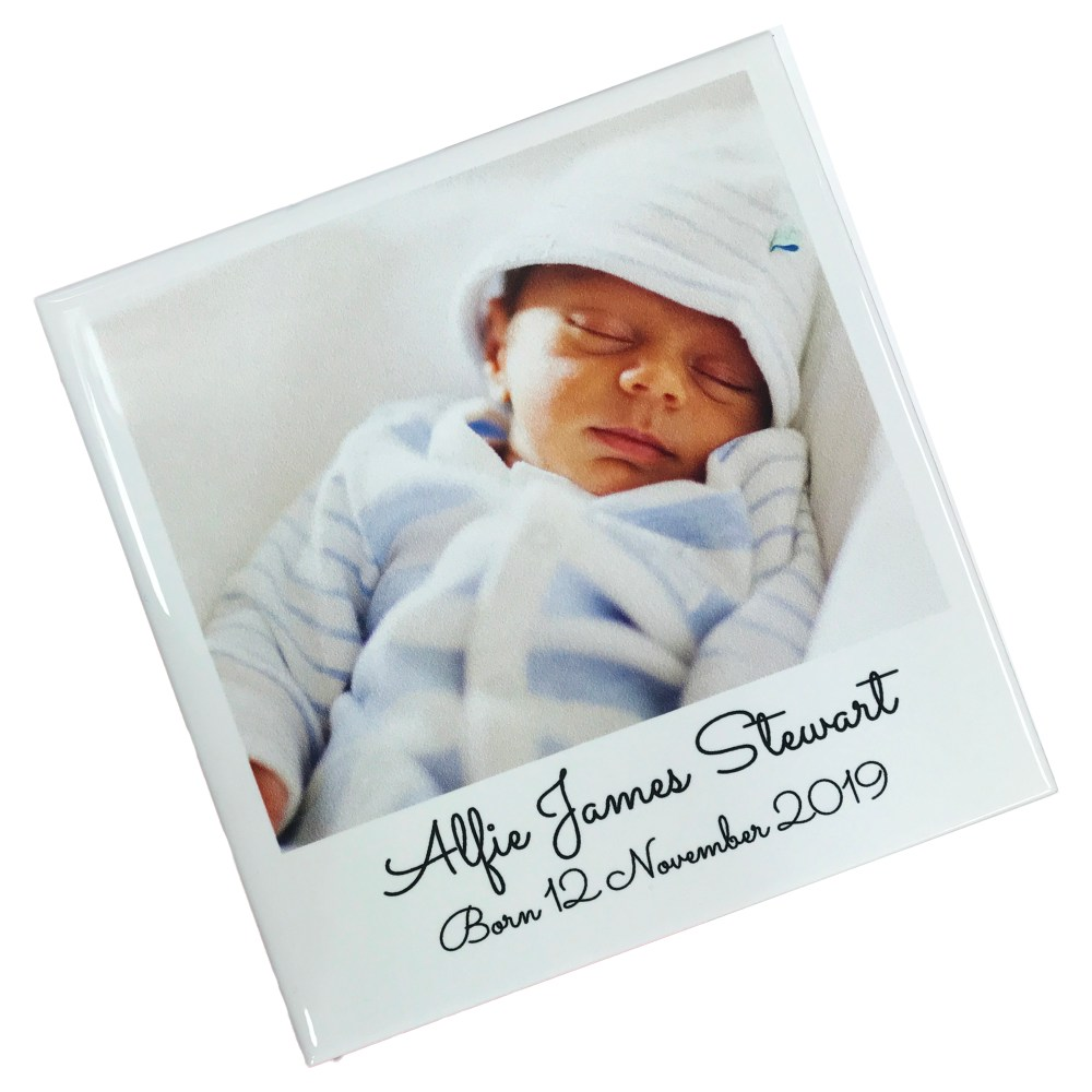 personalised ceramic tile with newborn baby photo and text