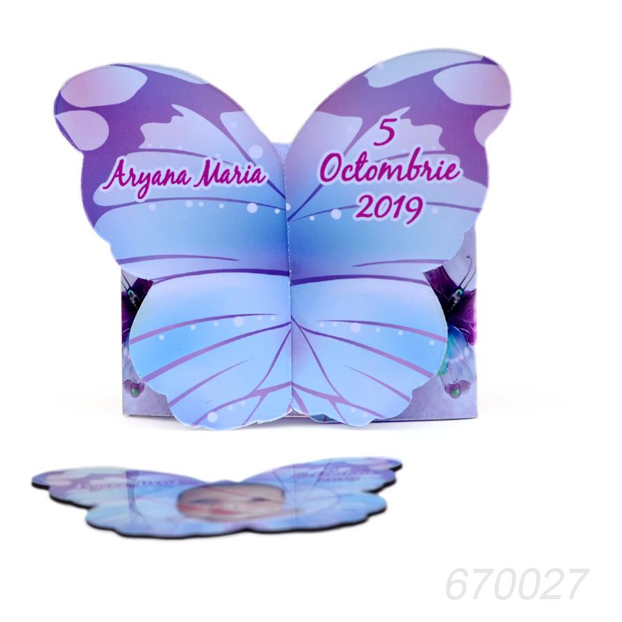 Invitatii Botez Cutie Magnet Forma Fluture