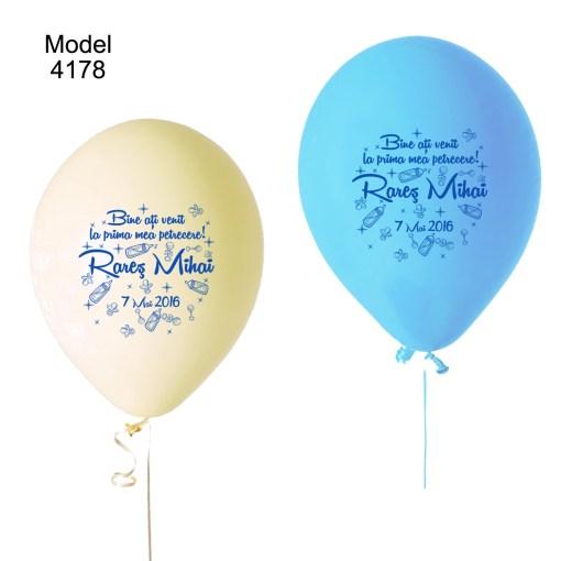 Baloane personalizate pentru botez, baloane cu biberoane stelute bebe