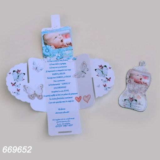 Invitatii Botez Cutie Cu Magnet Forma Biberon