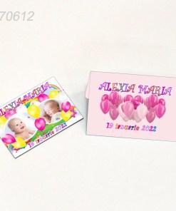 Marturii botez tematica baloane roz