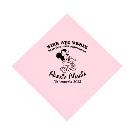 Servetele roz personalizate pentru pentru botez, tematica Minnie Mouse