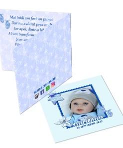 Invitatie pentru botez bleu personalizata cu fotografie si text, dimensiune 18x9 cm