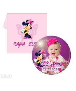 Marturie magnet forma rotunda tematica Minnie Mouse