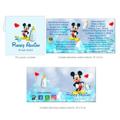 Invitatie botez tematica Mickey Mouse, personalizata cu fotografie si text, dimensiune 18×9 cm