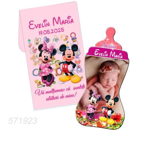Marturii botez Mickey si Minnie Mouse magneti biberon