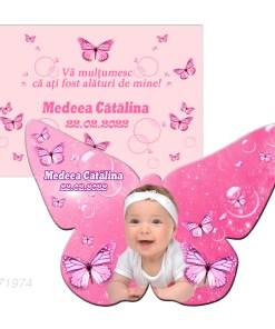 Marturie botez magnet fluture cu plic roz