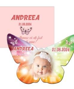 Marturie botez magnet fluture personalizat cu plic roz