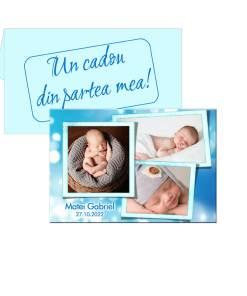 Marturie bleu pentru botez, personalizata cu 3 poze, plic inclus