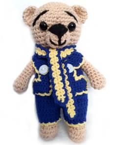 Jucarie ursulet crosetat manual, model crem-albastru-galben