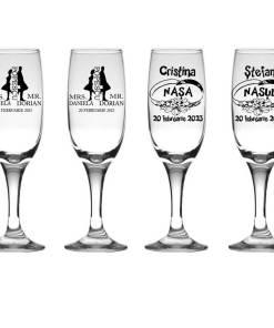 Set 4 pahare miri personalizate, pahare sampanie pentru nunta MR si MRS