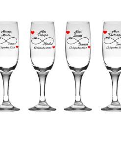 Set 4 pahare miri personalizate, pahare sampanie pentru nunta INFINIT LOVE