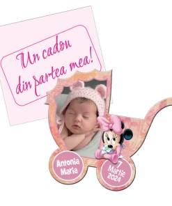 Marturie botez magnet forma carucior Minnie Mouse, plic roz inclus