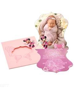 Invitatii botez personalizate cu fotografie, forma vintage, tematica Minnie, culoare roz