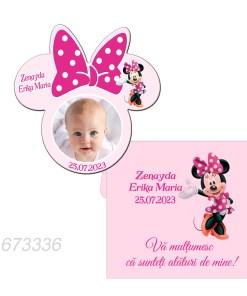 Magneti marturii botez forma Minnie Mouse roz cu plicuri incluse
