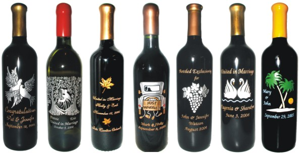 Engraved Wine Bottles For Anniversaries & Weddings