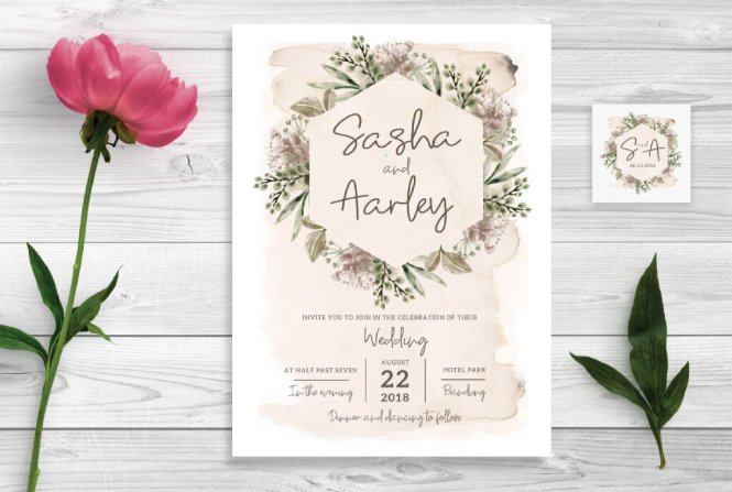 Cream Mauve Wedding Invitations