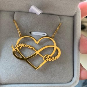 Personalized Heart + Infinity Double Name Necklace