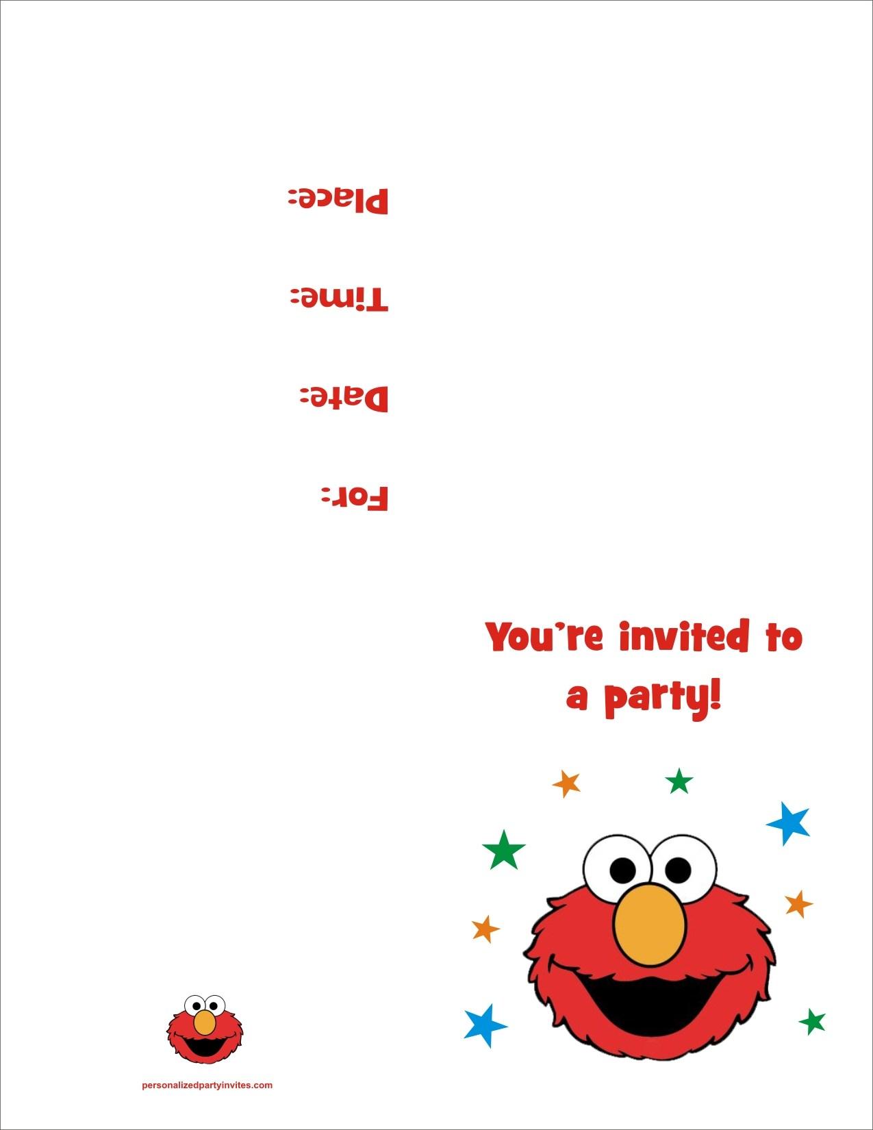 elmo free printable birthday party invitation personalized party invites