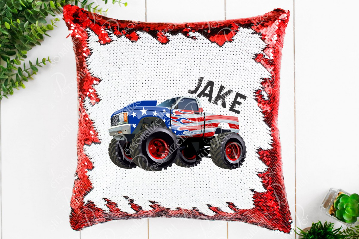personalized monster truck mermaid sequin pillow room decor birthday party gift pillow and cover choose color custom easter christmas gift