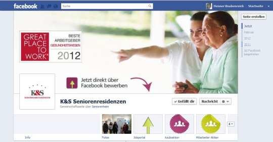 """K & S Seniorenresidenzen, sympathischer Auftritt, leicht in der """"facebookrechtlichen"""" Grauzone"""