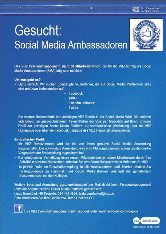 Mitarbeiter werben Mitarbeiter: Die VBZ sucht Social Media Ambassadoren