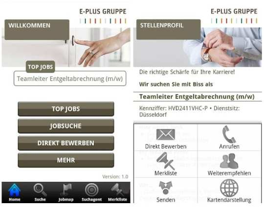 Mobile Recruiting mit E-Plus JobConnect - intuitives Bewerben geht anders