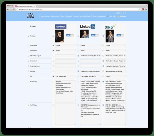 Eqipia Admin - Übersicht der freizugebenden Informationen auf Facebook, Linkedin oder Xing.jpg