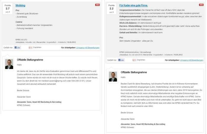 KPMG Schweiz Bewertungen und Stellungnahmen auf kununu