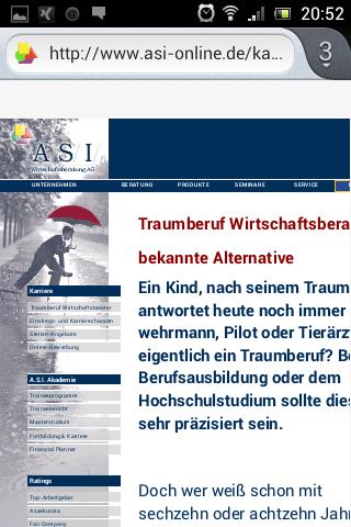 Mobile Karriere-Website ASI Wirtschaftsberatung