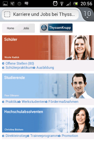 Mobile Karriere-Website ThyssenKrupp