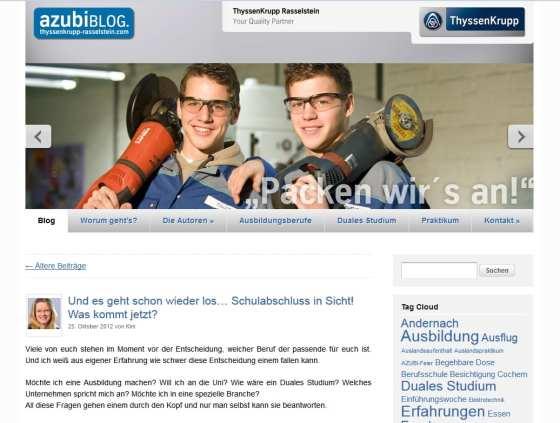 Ausbildungsmarketing: Screenshot vom Azubiblog ThyssenKrupp Rasselstein. Ein Projekt von Azubis für Azubis