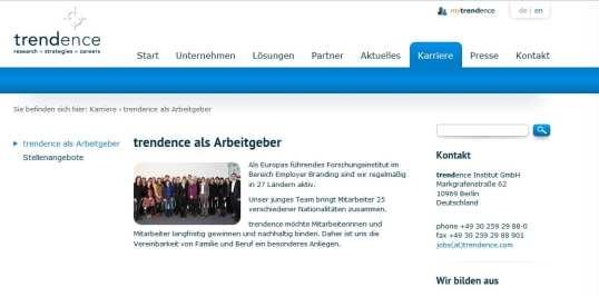 Karriere-Website von Trendence. Die Informationen über Trendence als Arbeitgeber fallen etwas dürftig aus.