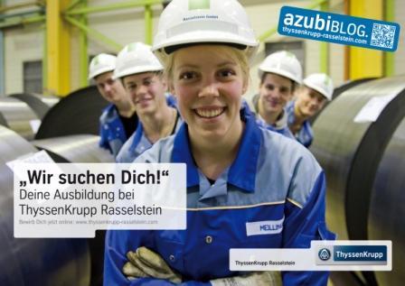 Poster mit dem der Azubiblog von ThyssenKrupp Rasselstein beworben wird