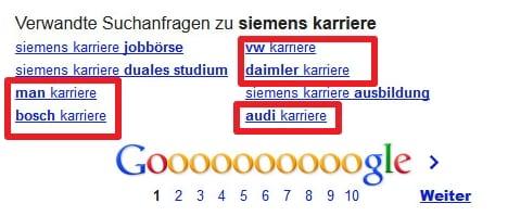 Konterkariertes Personalmarketing - eine Suche nach Siemens Karriere ergibt verwandte Suchanfragen zu AUDI VW Daimler MAN Bosch