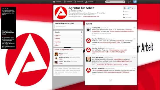 Bundesagentur goes Social Media - auch auf Twitter zeigt man Flagge