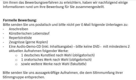 Bewerbung beim NDR - Chor bitte per Post - Quelle: NDR.de